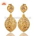 Gold Plated Pave Diamond  Earrings