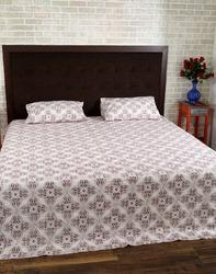Paisley Off White Brown Cotton Block Printed Bed Sheet