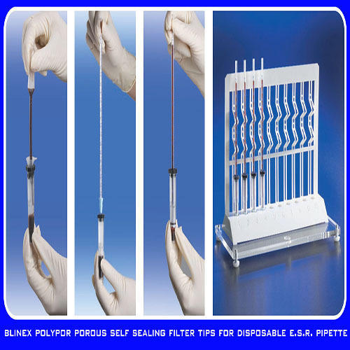 Porous Self Sealing Filter Tips for Disposable ESR Pipette