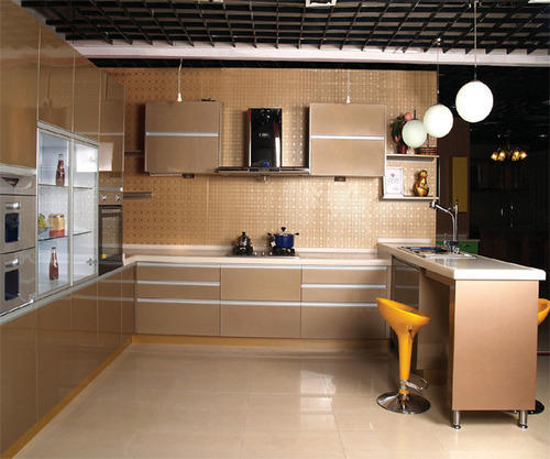 Champagne Gold Finish Stainless Steel Modular Kitchen
