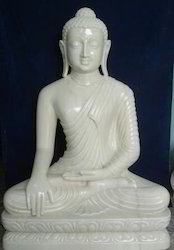Marble Earth Touching Buddha Statue