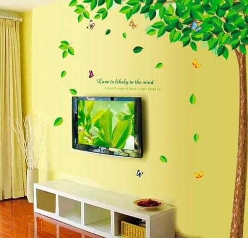 pvc wall sticker - decorative wind tree removable pvc wall sticker