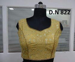 Yellow Silk Sequence Work Stitched Blouse