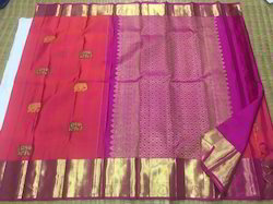 Pure Kanchipuram Silk Elephant Motifs Elephant Butta Saree