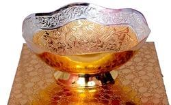 VESPL Royal Gold And Silver Plated Brass Bowl