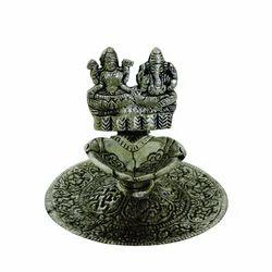 White Metal Laxmi Ganesh Diya