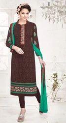 Brown Georgette Salwar Suit