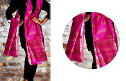 Pink Khada Meheshwari Gold Dupatta