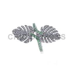 Diamond Gemstone Designer Leaf Ring