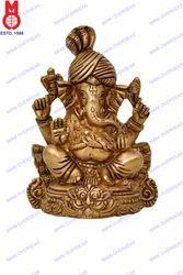 Pagari Ganesh Sitting On Dragon Base Statue