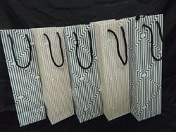 Striped Paper Wine Bottle Bag