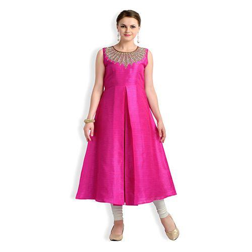 Half Sleeves Pink Kurti