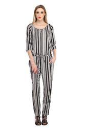 Cottinfab Women's Striped Jumpsuit