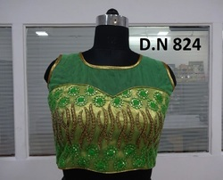 Green Net Sequence Embroidered Stitched Blouse