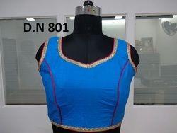 Blue Silk Plain Stitched Blouse