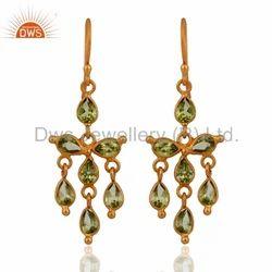 Handmade 925 Silver Peridot Earrings