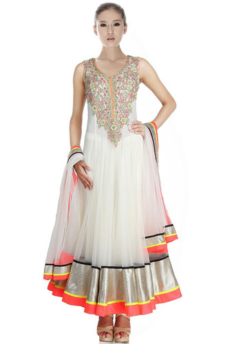 White Designer Anarkali Suits