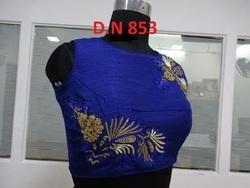 Blue 100 % Silk Handwork Stitched Blouse