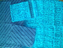 Aaditri Blue Cotton Ladies Suits Dress Material