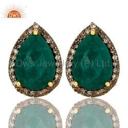 Pave Diamond Emerald Stud Earrings