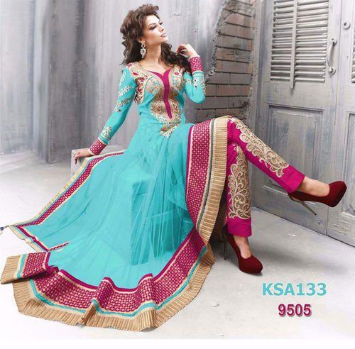Designer Sky Bridal Long Anarkali Suit