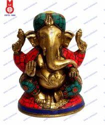 Lord Ganesh Sitting w/ Golden Stone Work