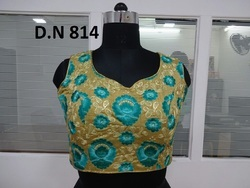 Golden Silk Embroidered Stitched Blouse