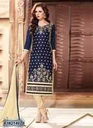 Designer Blue and Cream Churidar Suit