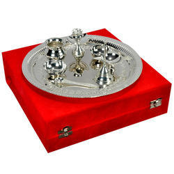 Brass Antique Design Glossy Silver Thali