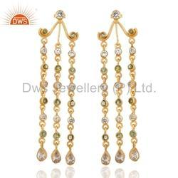 Peridot Gemstone Chandelier Earrings
