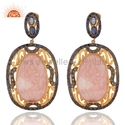 Hand Carved Opal Gemstone Sapphire Antique Jewelry Earrings