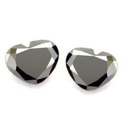 Heart Shape Black Diamond Pair