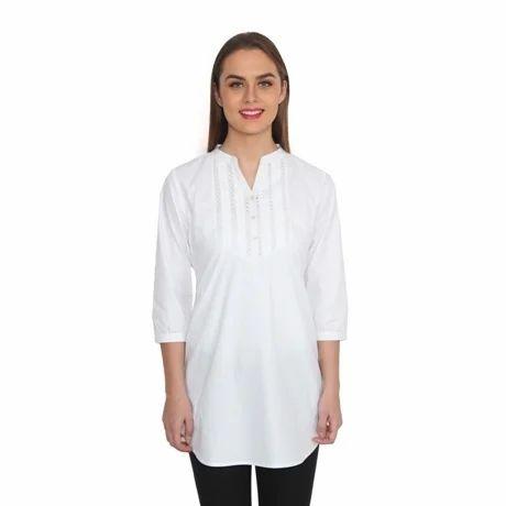 White Cotton Tunic With Lace Yoke
