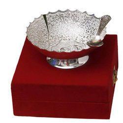 Brass Antique Design Glossy Silver Bowl