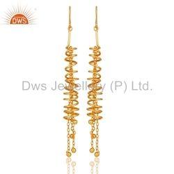 24k Gold Plated Sterling Silver Tassel Earrings Jewelry