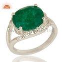 Green Gemstone 925 Silver Girls Rings Jewelry