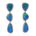 Sterling Silver with Gold Opal Dangle Earring