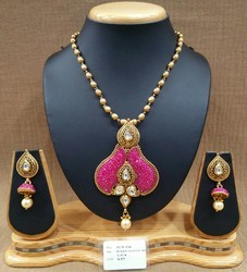 Fancy Designer Polki Chain Pendant Set