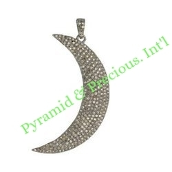 Genuine Natural Pave Diamond Crescent Moon Charm