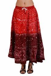 Jaipuri Bandhini Hippie Long Skirt