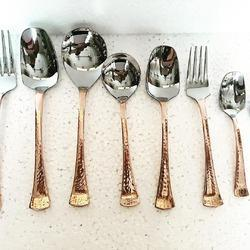 Copper Hammmered Finished Trident Cutlery