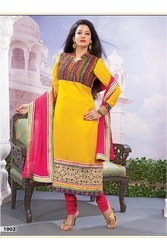Yellow Faux Georgette Jacquard Churidar Kameez