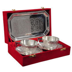 Silver Plated Brass Bowl with Tray and Spoon