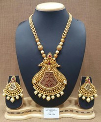 Gold Antique Mala Polki Pendant Set