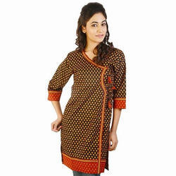 Designer Jaipuri Print Red Black Cotton Kurti 192