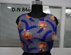 Blue Net Jaal Work Stitched Blouse