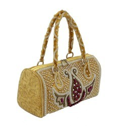 Golden Embroidered Handbag