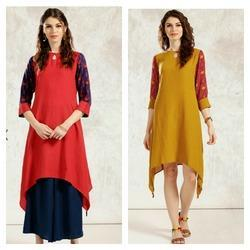 Rayon Flex Kurta With Printed Sleeves Handkerchief Style