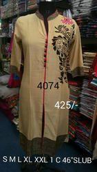 Designer Neck Ladies Linen Kurties