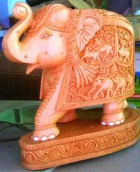 Wooden Carving Elephant with Base